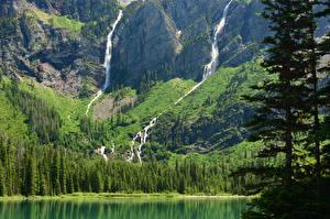 Фотографии Парки Водопады США Озеро Пейзаж Горы Avalanche Glacier Montana Природа