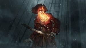 Фотографии Пираты Огонь Нежить Дождь Шляпа Сабли Ночь Фантастика