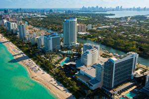 Обои США Дома Сверху Майами Города фото
