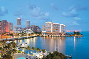 Обои США Дома Побережье Флорида Майами Города фото
