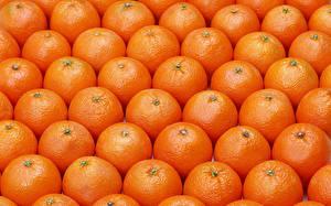 Фотографии Фрукты Мандарины Много Текстура Оранжевая Пища