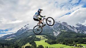 Фото Гора Велосипед Прыжок Спорт Природа
