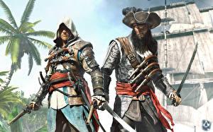 Картинки Assassin's Creed Assassin's Creed 4 Black Flag Пираты Воины Пистолеты Шляпа 2 Игры