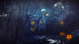 Картинка Праздники Хэллоуин Дома Готика Фэнтези Ночь Луна Фэнтези