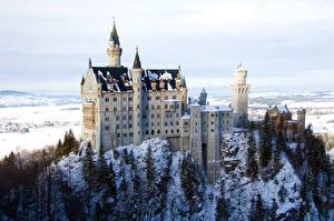 Картинки Замки Германия Зима Нойшванштайн Бавария