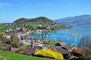 Обои Швейцария Берег Берн город