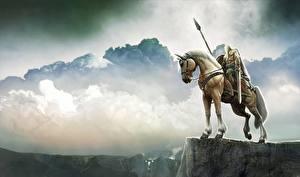 Фотографии Воины Лошадь С копьем Облачно Фантастика