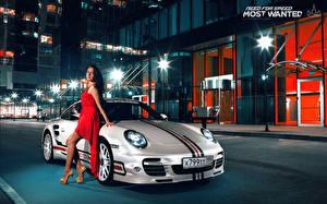 Обои Porsche Платье 911 авто Девушки