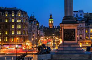 Картинка Англия Лондон Биг-Бен Улица Городская площадь Whitehall Trafalgar Square Города