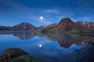 Фотографии Горы Исландия Озеро Пейзаж Природа