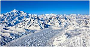 Фотографии Горы Дороги Снег Himalayas Природа