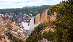 Фотографии Парки США Пейзаж Водопады Йеллоустон Природа