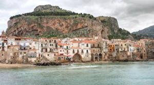 Обои Италия Берег Здания Сицилия Cefalù город