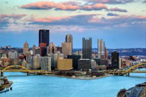 Фото США Дома Побережье Мосты Небоскребы Питтсбург Пенсильвания город