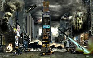 Картинка Катастрофы Здания Небоскребы Дымит Города