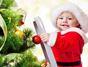Фото Рождество Грудной ребёнок Новогодняя ёлка Дети