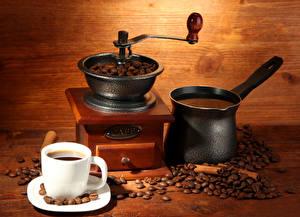 Картинки Напитки Кофе Кофемолка Зерна Чашка Турка Еда