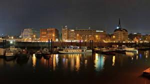 Фото Германия Побережье Причалы Гамбург Ночь Города