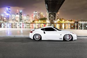 Фото Nissan Мосты Белая Сбоку 370z Автомобили Города