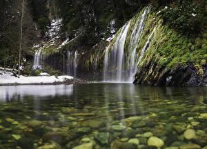 Обои Водопады США Вода Камни Калифорния Mossbrae falls Природа фото