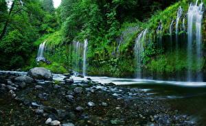 Обои Водопады США Калифорния Mossbrae falls Природа фото