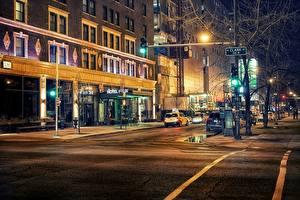 Фотография США Дороги Улица Чикаго город Асфальт Illinois Города