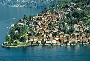 Обои Италия Побережье Сверху Como Города фото