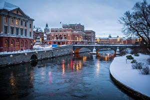 Фото Швеция Зимние Мосты Реки Стокгольм Водный канал Города
