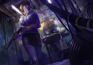 Картинки Silent Hill Ружьё Воины Девушки