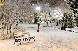 Фото Зимние Уличные фонари Скамья Снег Города