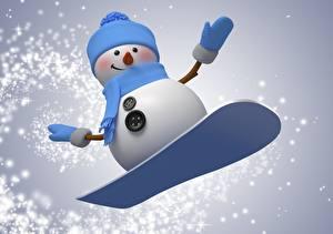 Фотографии Праздники Новый год Векторная графика Сноуборд Снеговики
