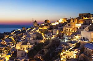 Фотографии Греция Дома Фира Ночь город