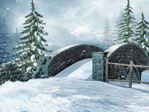Картинка Сезон года Зима Мосты Ель Снег 3D_Графика