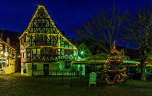 Картинки Германия Здания Эдигер-Эллер Ночные Улица
