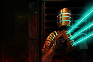Картинка Dead Space Воины Доспехи Шлем Fan ART