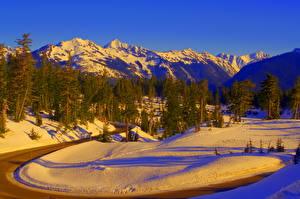 Фото Времена года Зимние Горы Дороги Природа