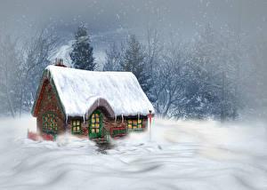 Фотографии Сезон года Зимние Здания Снег 3D_Графика