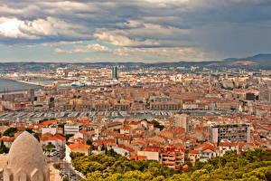 Фотография Франция Здания Марсель Сверху Города