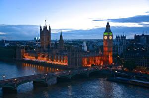 Фото Англия Мосты Реки Лондон Биг-Бен Thames город