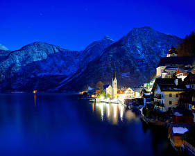 Картинки Австрия Берег Горы Халльштатт Ночь