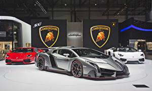Обои Lamborghini Серый Роскошные 2013 Veneno Автомобили