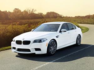 Фотографии BMW Белые M5 машина