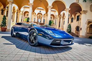 Картинки Lamborghini Синяя Роскошные Murciélago Автомобили