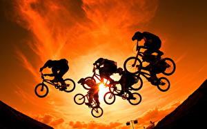 Фото Велосипед Прыгает Силуэт Велогонка Спорт