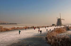 Картинки Нидерланды Мельницы Природа