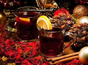 Фото Чай Лимоны Рождество Чашке Пища
