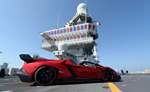 Фотографии Lamborghini Авианосец Красный Дорогие Родстер 2013 Veneno Roadster Nave Cavour Автомобили