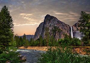 Фотография Парки Реки Горы Водопады Леса Пейзаж Природа