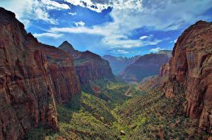 Картинки Пейзаж Парки Штаты Зайон национальнай парк Каньон Природа