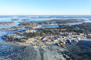 Картинка Швеция Остров Зима Озеро Природа